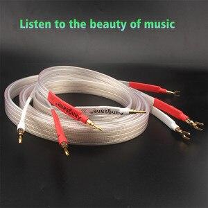 Image 2 - Xangsane fever grade OCC posrebrzany kabel głośnikowy hifi micro space audio kabel wtyczka bananowa Y wtyczka wtyczka bananowa bananowa Y Y