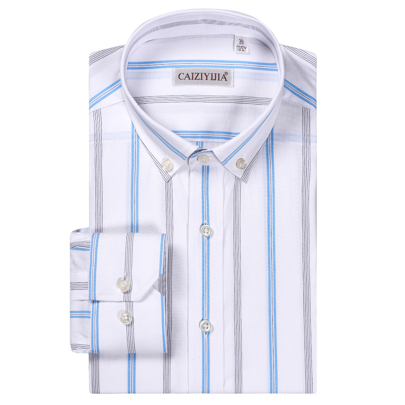 Men's Long Sleeve Casual Vertical Striped Dress Shirt Comfortable 100% Cotton Standard-fit Button Down Collar Easy Care Shirts