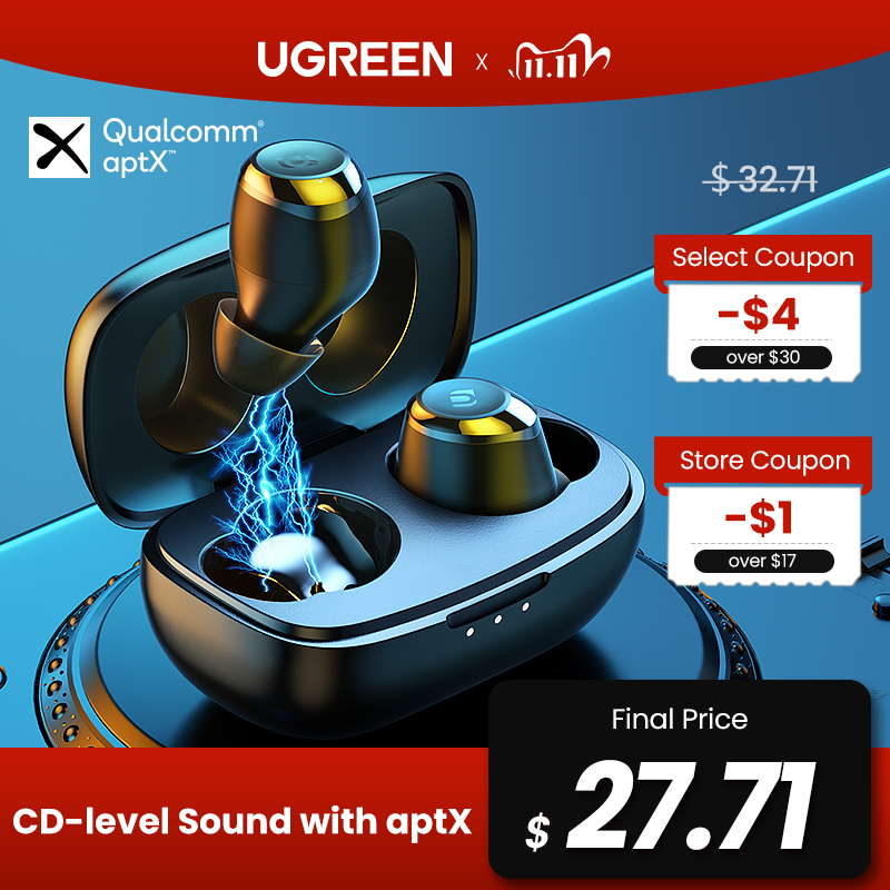 UGREEN HiTune TWS Headphones Wireless Bluetooth Earphones aptX with Qualcomm Chip True Wireless Earbuds Bluetooth 5 0 Headphone