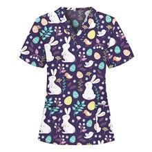 Unisex V-Neck Short Sleeve Work Clothes For Women Pharmacy Pet Shop Beauty Salon Cartoon Cotton Rabbit Print Nurse Uniforms Tops