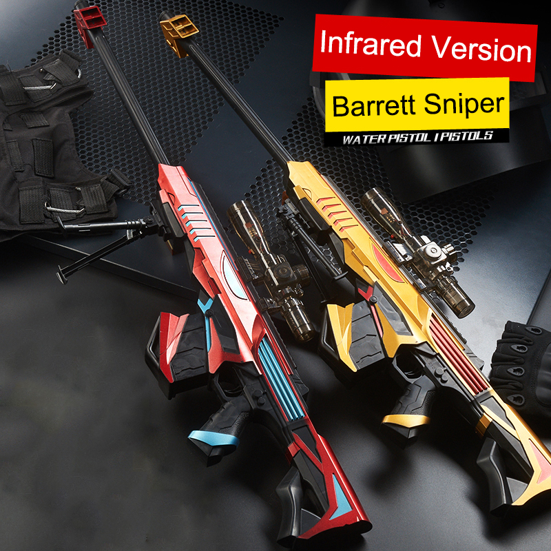 Manual Plastic Toy Gun Infrared Barrett Sniper Outdoors Soft Paintball Water Bullet Gel Ball Weapon Gun Toys For Kids Gifts