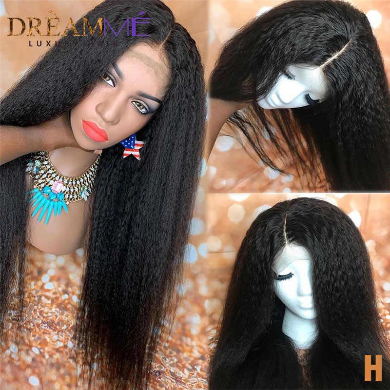 モンゴル変態ストレートかつらグルーレスレースフロント人間の髪のかつらの Remy 毛イタリア焼き 13 × 4 かつら 150% の夢の毛