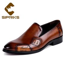 Sipriks Mens Genuine Leather Slip-On Shoes Retro Man Business Gents Suit Formal Tuxedo Shoes Luxury Brand Blue Brown Big 37 - 46(China)