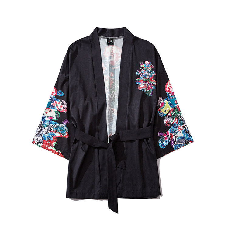 Japanese Crane Carp Printing Seven-point Sleeve Men And Women Belt Robe Kimono Jacket Cardigan Summer Thin Suncreen Clothing