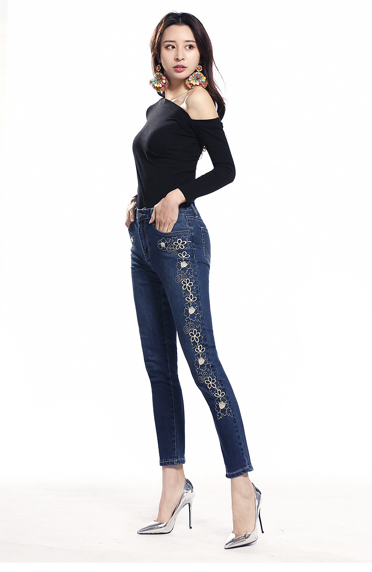 KSTUN FERZIGE women jeans dark blue stretch high waist slim fit side embroidered florals spring and summer cropped pants denim jeans 12