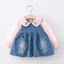 Весенние детские комплекты, футболка с вишневым воротником и джинсовое платье на бретелях, комплект для девочек