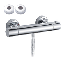 цена на Bath Shower Faucet Thermostatic Shower Faucets Wall Mounted Mixer Valve Tap Thermostatic Shower Mixer Bathroom Twin Outlet Tap