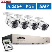 ZOSI H.265 + 8CH 5MP POE sistema de cámaras de seguridad Kit 4 Uds 5MP HD cámara IP al aire libre impermeable CCTV Home Video Vigilancia Conjunto NVR