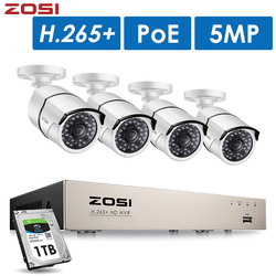 ZOSI H.265 + 5Mп POE Комплект видеонаблюдения на 8 каналов с 4 HD IP камерами 5Mп для наружного наблюдения, водонепроницаемый корпус