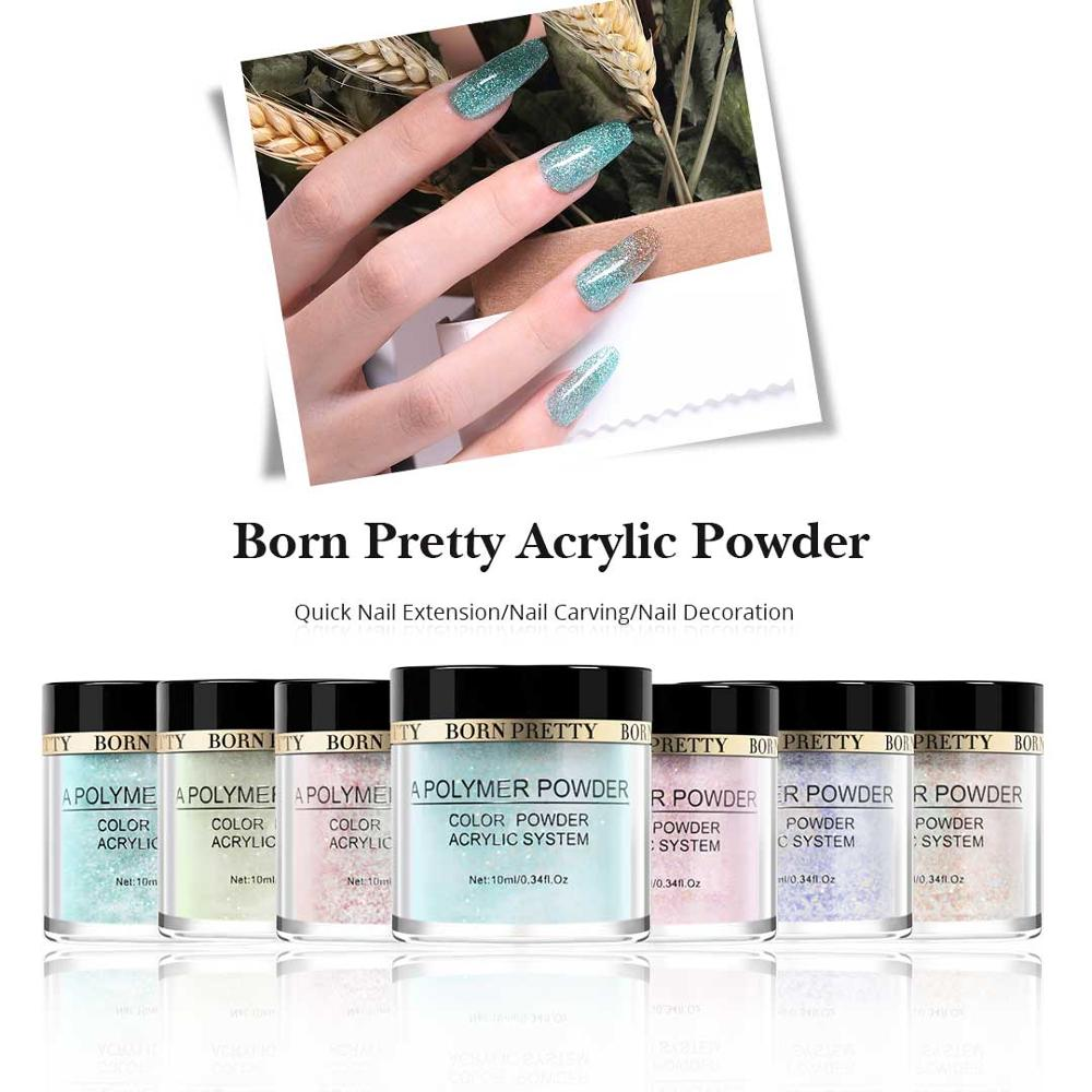BORN PRETTY Glitter Acrylic Dip Nail Powder Polymer Powder Pink Sequins Tip Extension Nail Art Manicure 12 Colors