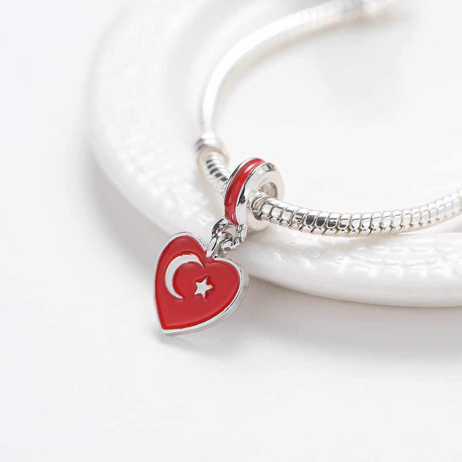 כסף מצופה חרוז לנשים צמיד צמיד טורקיה דגל להתנדנד קסם DIY תכשיטים