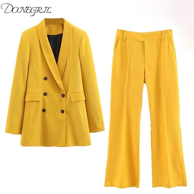 Women Spring Blazer Suit Double Breasted Coat High Waist Flare Pants Suit Sets Office Solid Suit Sets Blazer + Pants