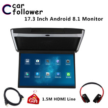 Android 8,1 Monitor 17,3 pulgadas HD 1080P IPS pantalla techo TV para soporte de coche WIFI/HDMI/USB /SD/FM/Bluetooth/reproductor de altavoz MP5