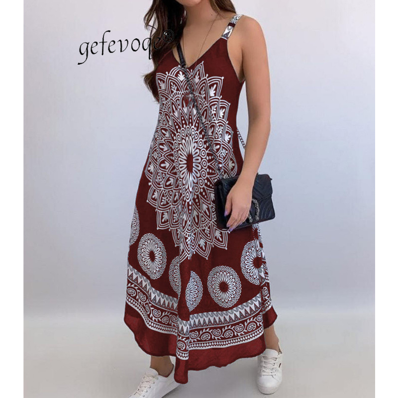 Summer Vintage Elegant Print V-neck Sleeveless Beach Party Long Dress 2021 Women Dresses Vestidos De Verano Casual Boho Sundress 8