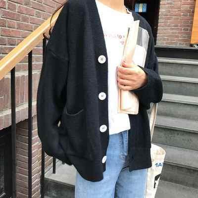 한국 여성 느슨한 카디건 더블 포켓 디자인 니트 카디건 여성 스웨터 자켓 가을 겨울 v 넥 긴 소매 코트