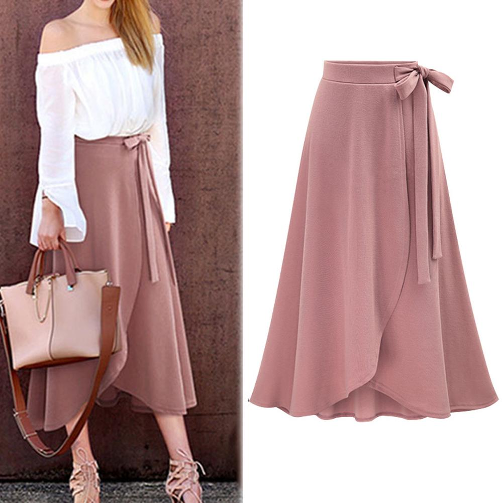 Fashion Long  Skirts  Womens Solid Color Bandage  High Waist  Pleated  Split Cross Hem Elastic Band Max Pleated Skirt Midi Skirt