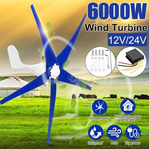 6000 w gerador de turbinas eolicas 3 5 lamina de fibra de nailon 12 v