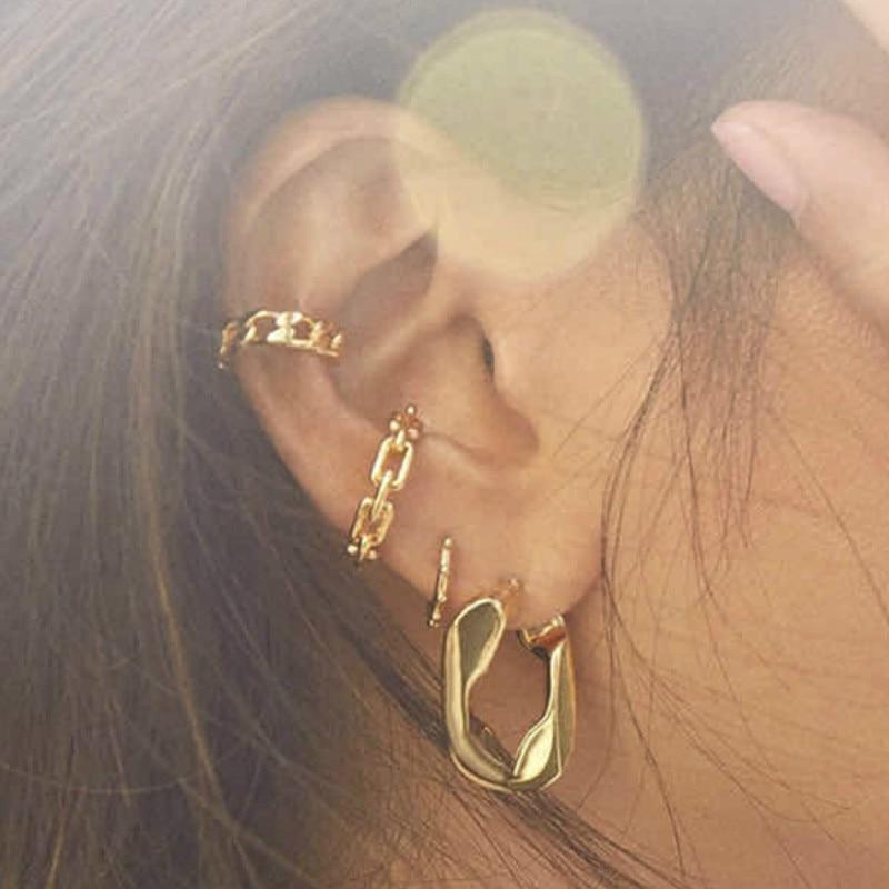 2020Round Fashion Ear Bone Clip Simple No Ear Hole Women's Ear Clip Round Small Earrings for Women Gift Jewelry