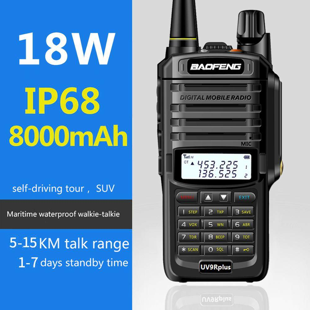 2020 Baofeng UV-9R plus Waterproof IP67 15W Walkie Talkie High Power CB Ham 50 20 KM Long Range 18W UV9R portable Two Way Radio