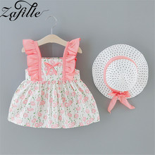 ZAFILLE Sleeveless Baby Girl Clothes Cute Summer Dress For Girl With Hat Printed Kids Clothes Toddler Princess Baby Girls Dress zafille summer dress for girl toddler sleeveless baby girl clothes solid kids clothes bow girls dress cute baby girl clothing