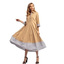 Khaki Long Dress 2019 Women 7-point Sleeve White Gray Striped Casual knitted linen Plus dress Office Party Robes Winter