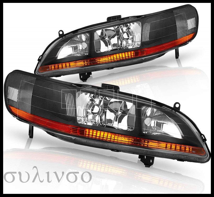 Headlights Assembly For 1998 1999 2000 2001 2002 Honda Accord Headlamp Black Housing