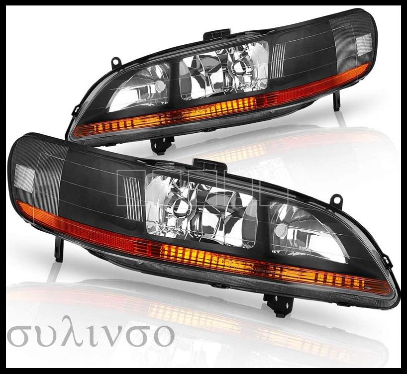 Headlights Assembly For 1998 1999 2000 2001 2002 Honda Accord Headlamp Black Housing