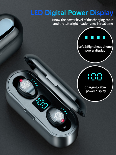 New F9 Wireless Headphones Bluetooth 5.0 Earphone TWS HIFI Mini In-ear Sports Running Headset Support iOS/Android Phones HD Call 3