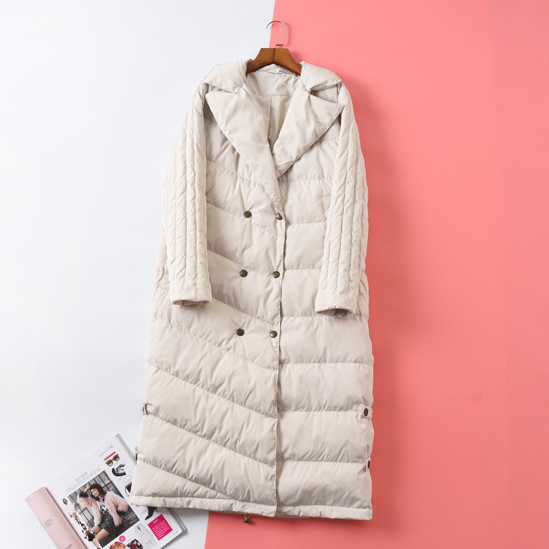 Shuchan Designer Women 80% White Goose Down 2019 High Quality Warm Long Winter Down Jacket For Women Double Breasted