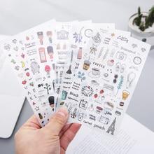 6 Pcs/Set European Travel Paper Sticker Decoration Diary Scrapbooking Label Sticker Kawaii Korean Stationery DIY Stickers