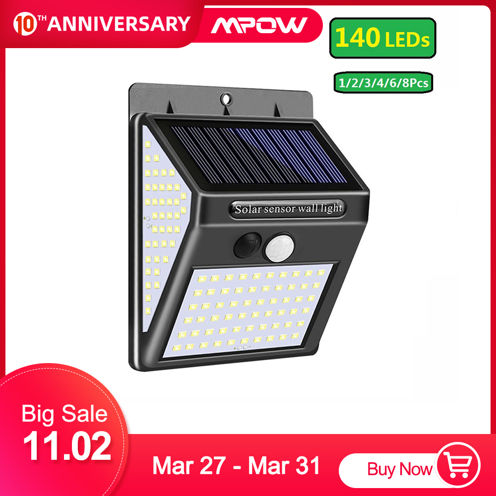 2pcs Mpow Solar Powered Lights 140 LED Door Wall Fence Outdoor Garden Security