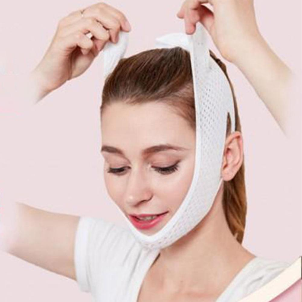 V Face Lift Up Slimming Mask Hollow Out Mesh Elastic Cheek Compression Double Chin Thin Belt Strap Bandage Facial Shaper Tool