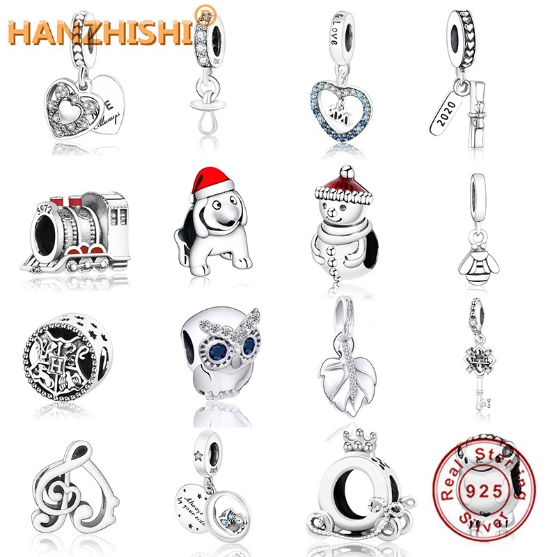 Fits Original Pandora Charms Bracelet 925 Sterling Silver Heart Charms Love Heart My Wife Always Pave Crystal Pendant Beads