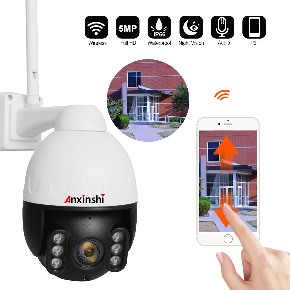 IP66 Full Metal Case Waterproof HD 5MP PTZ IP Camera 3.6mmLens 1080P Wifi Outdoor Wireless CCTV Security Camera IR 60m P2P CamHi image