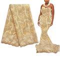 Золотая нигерийская кружевная вышитая сетка, французская кружевная ткань 2020, Высококачественная швейцарская Кружевная Ткань 5 ярдов, африк...