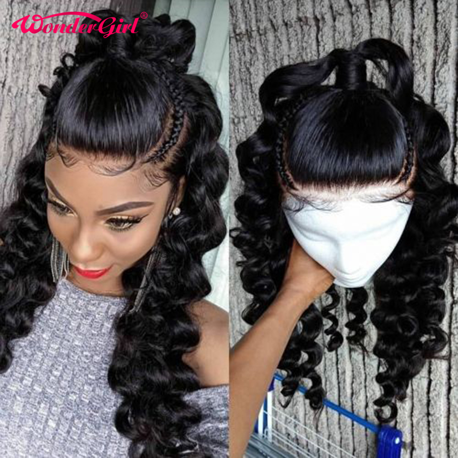 Loose Wave Wig T Part Lace Wig Human Hair Pre Plucked With Baby Hair Remy Hair 150% Transparent Lace Wigs For Women Wonder girl