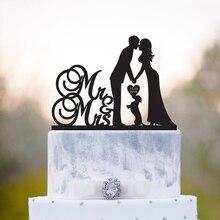 На заказ Mr & Mrs имя свадебный торт Топпер с собакой, невеста и жених силуэт, пользовательские собаки свадебный Декор персонализированные юби...
