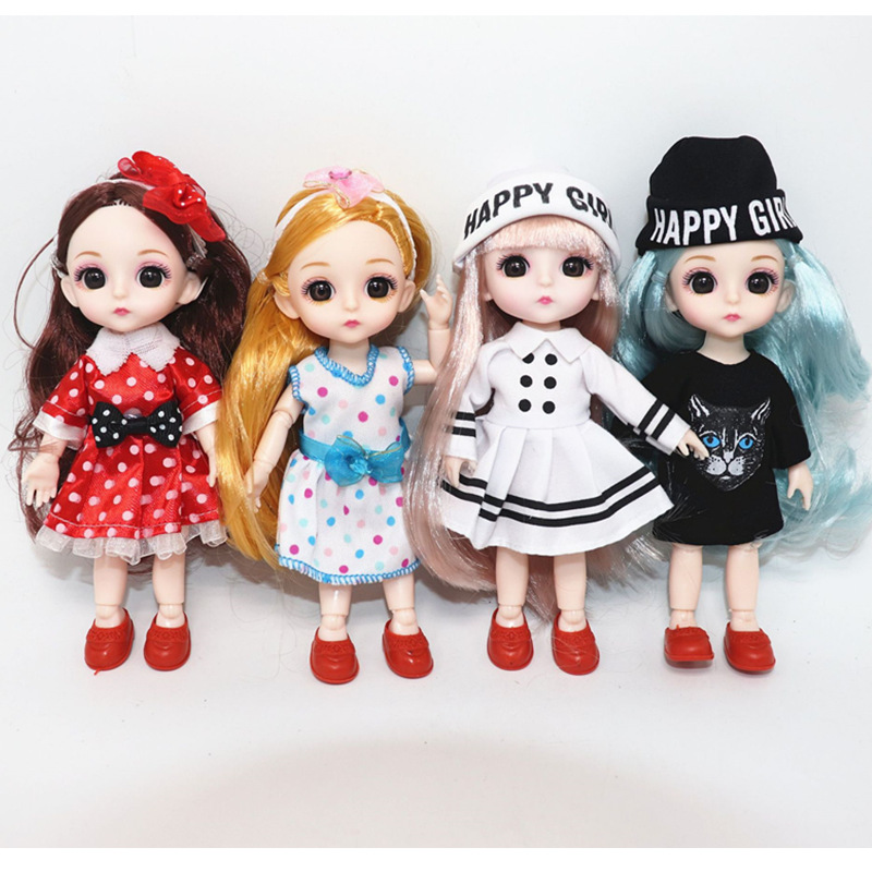 6 Inch Jionts Baby Doll <font><b>BJD</b></font> <font><b>1/8</b></font> Doll with Clothes Fashion Suit 16cm Doll Set Makeup Toys for Children Gifts for Girls image