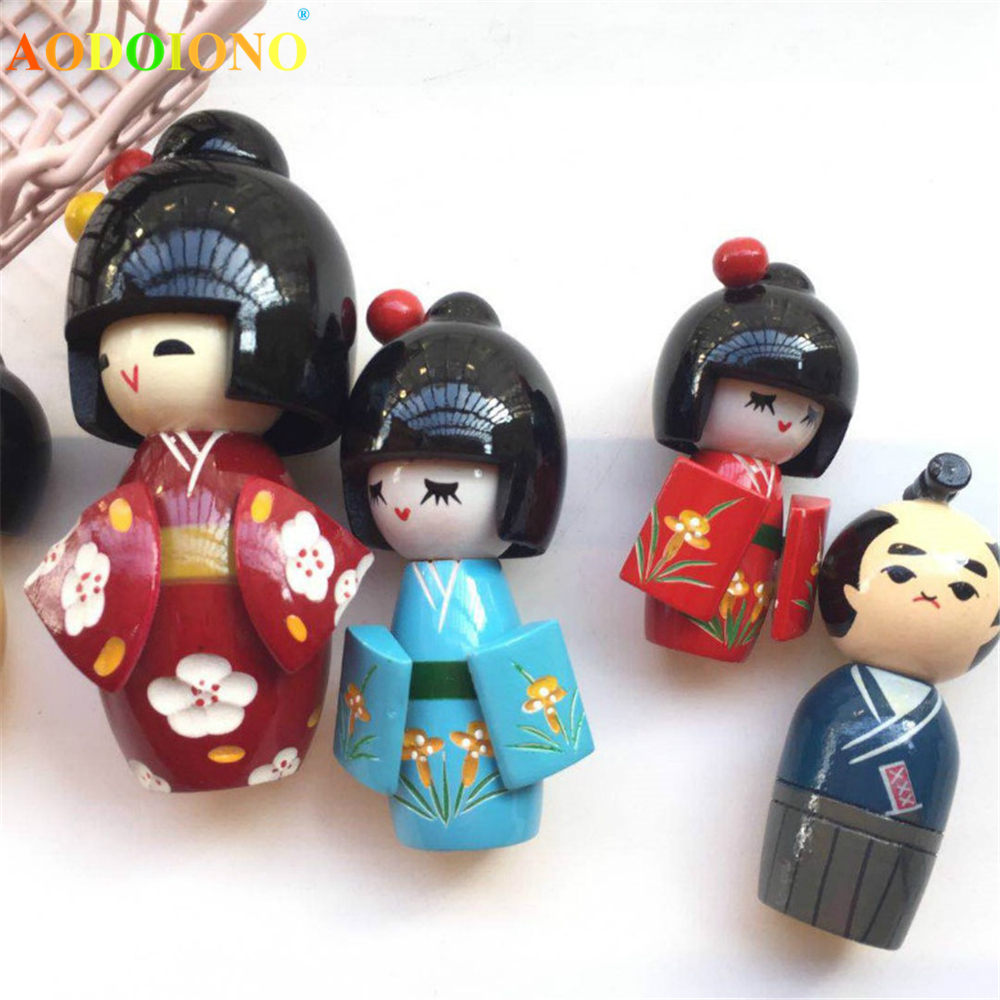 New Cute Handmade Oriental Japanese Kokeshi Girls Wooden Dolls Toy Traditional Action Figure Toys Collection Kids Children Doll
