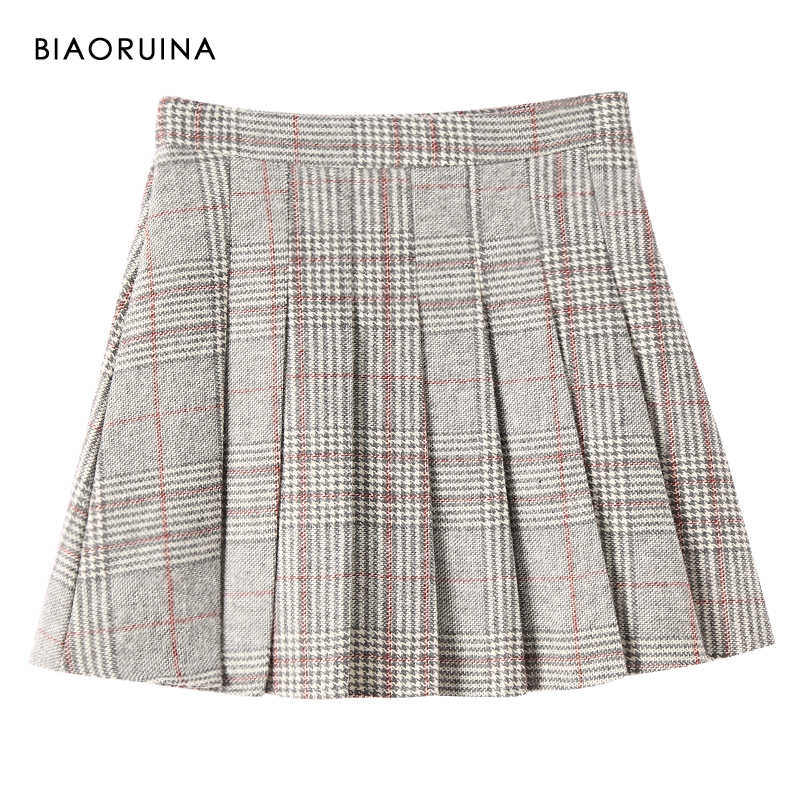 BIAORUINA Women's Vintage Woolen Pleated Mini Skirt Side Zippers Female High Waist Fashion Lined Skirt Autumn Winter New Arrival