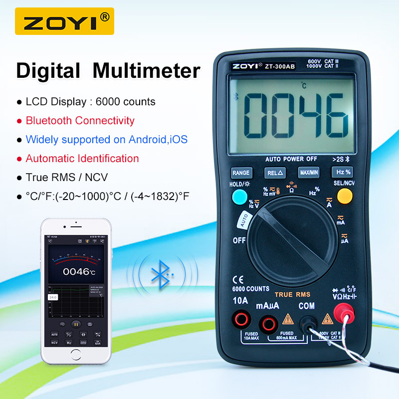 ZOYI ZT-300AB 6000 Counts True RMS Bluetooth   Multipurpose   Smart Multimeter with temperature and NCV