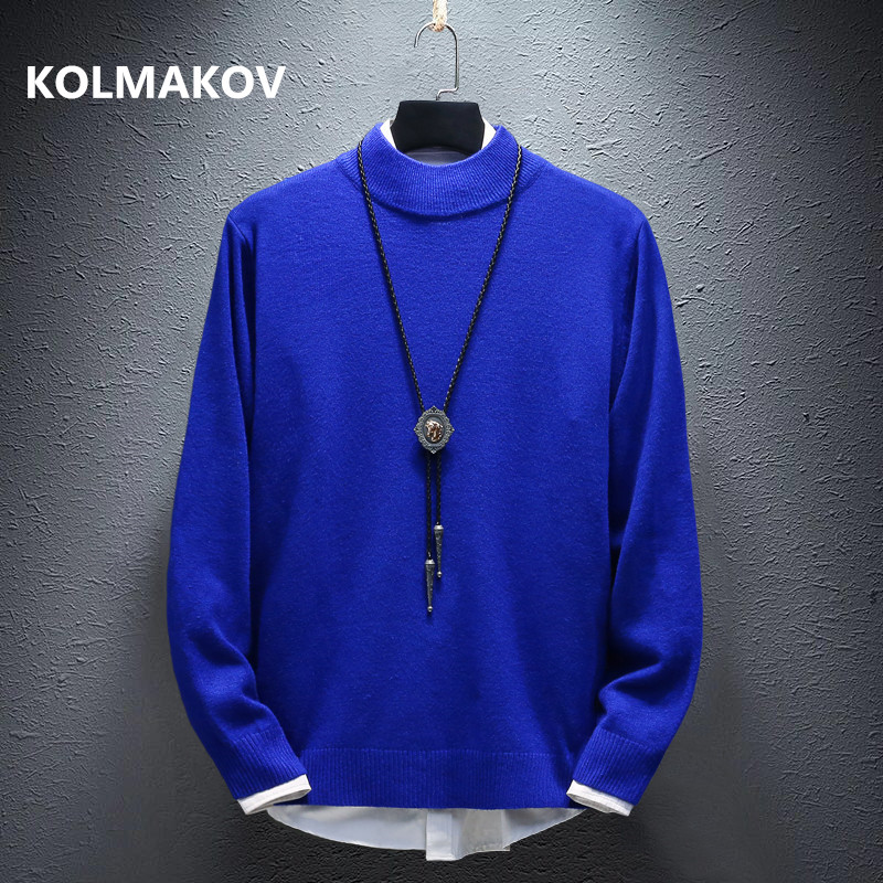 2019 Autumn Men's Sweaters High Quality Mens Sweater Knitted Pullovers Hot Sale Soft Wool Classic Multi-color Men Sweater M-3XL