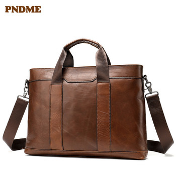PNDME business first layer cowhide mens briefcase simple retro casual luxury messenger bags office genuine leather laptop bag