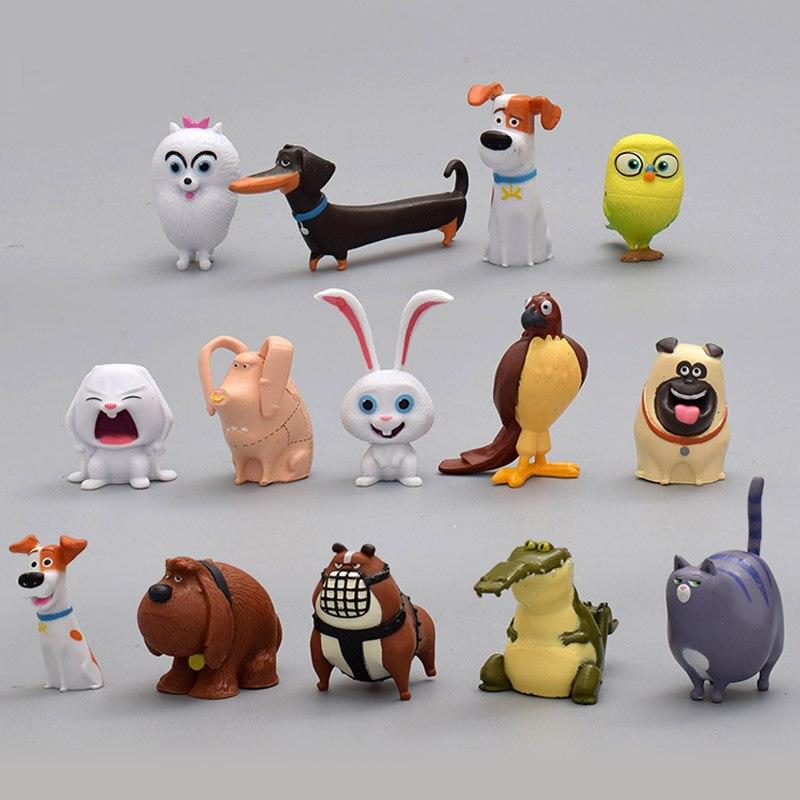 Bonecas genuínas vida secreta animais de estimação figura ação pvc modelo crianças brinquedo coleções coelho bola de neve gidget mel cão max duke gato