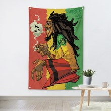 Bob Marley Rock Band Opknoping Art Waterdicht Doek Polyester Stof 56X36 Inch Vlaggen Banner Bar Cafe Hotel Decor(China)
