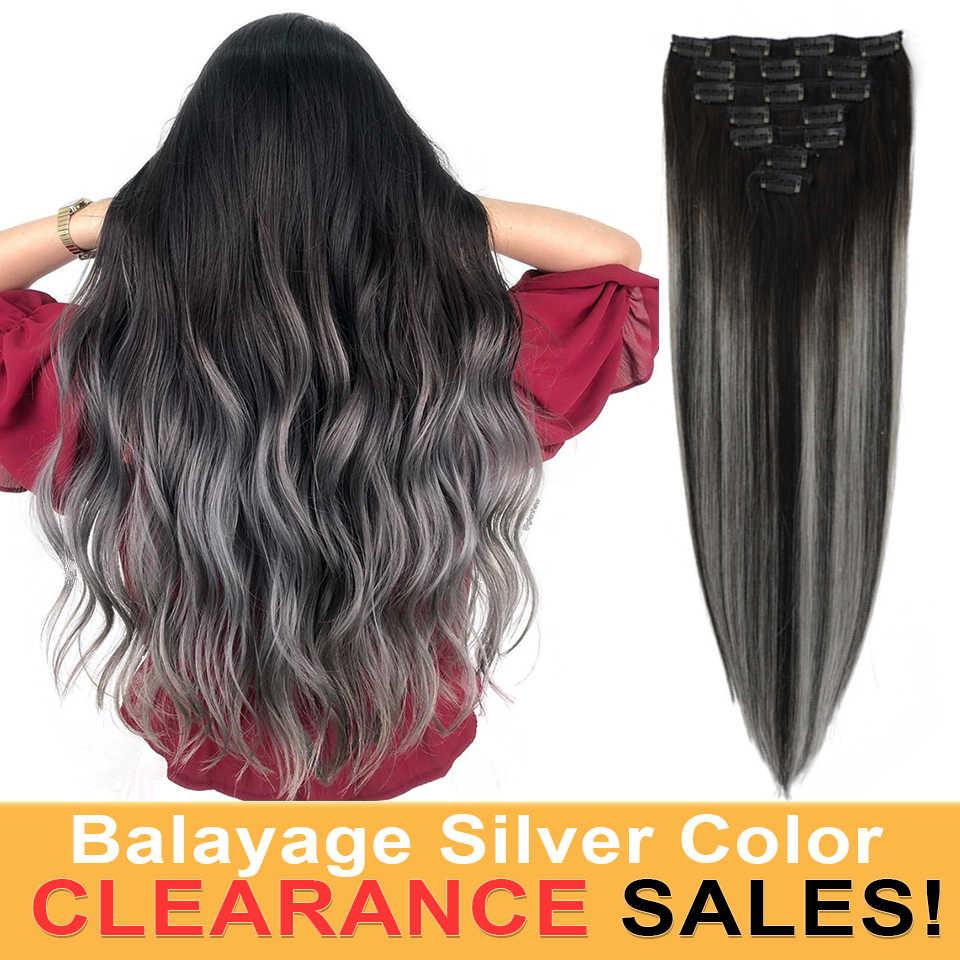 MRSHAIR שיער טבעי הרחבות Ombre כסף Balayage מדגיש רמי שיער קליפ ב תוספות שיער ישר 7 יח'\סט 14 18 20 אינץ