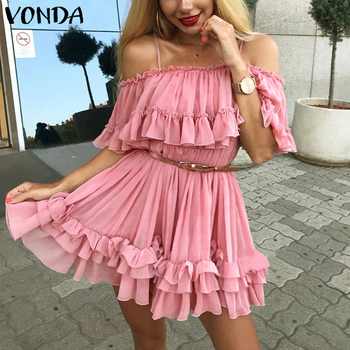Ruffles Dress Holiday Off Shoulder Sundress Women 2020 VONDA Summer Party Dresses Beach Female Plus Size Casual Vestidos autumn summer new women shirt dress long sleeved female dresses slim fashion party office lady sundress plus size casual rob