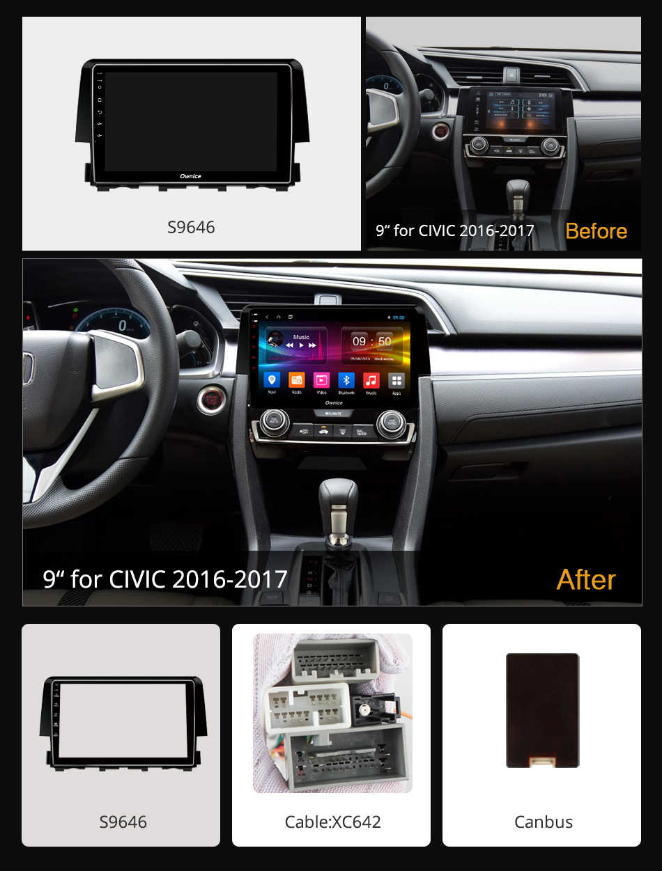 Ownice K2 K3 K5 K6 Octa core Android 9.0 autoradio stéréo Navi gps pour Honda Civic 2016 2017 voiture lecteur dvd 4G 360 Panorama DSP