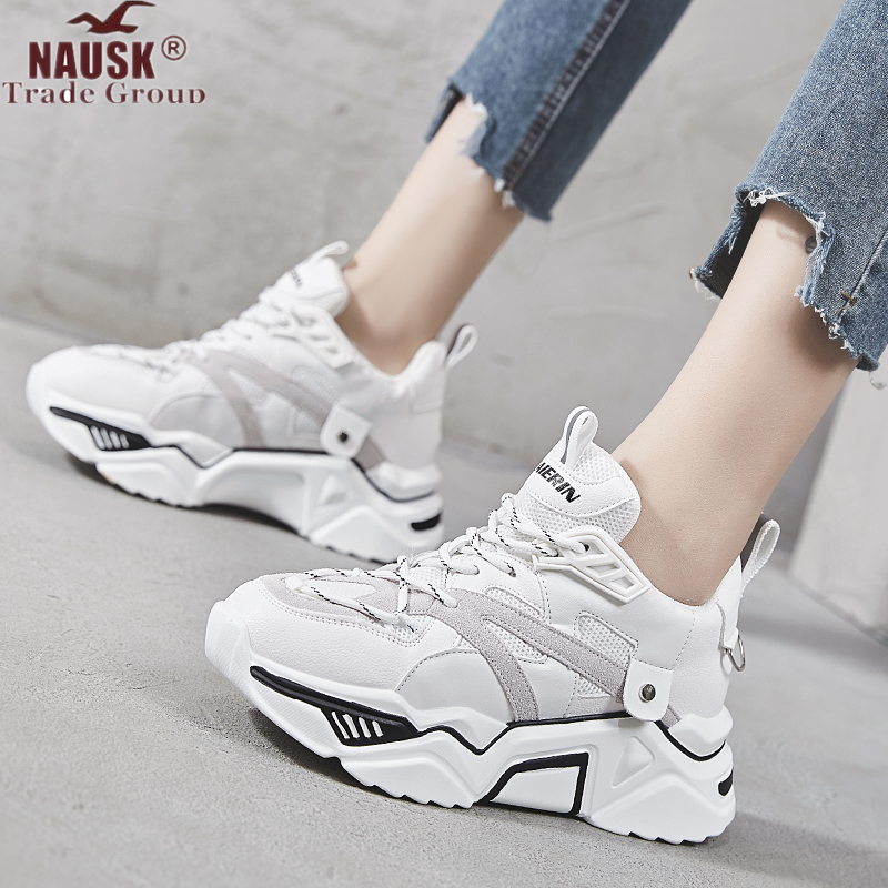NAUSK 2019 Women Sneakers Fashion Casual Shoes Woman Comfortable Breathable Mesh Lace Platform Vulcanized Shoes Chaussure Femme
