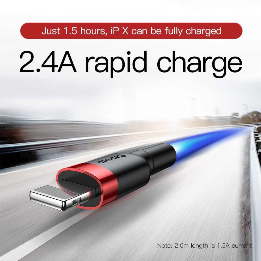 BASEUS Kabel USB untuk iPhone X Max XR X 8 7 6 6 S PLUS 5 5S SE Ipad pro 2.4A Cepat Pengisian Charger Data Kabel Ponsel Kabel